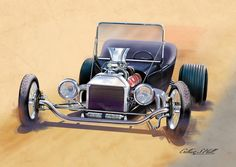 """Drawn and painted with Wacom and CS5. The picture is the earlier """"flamed Hot Rod"""" the background was an after thought. Anyway I like this version more, enjoy."""