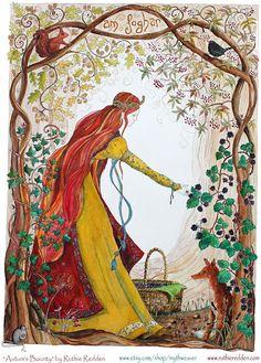 Autumn's bounty - giclee print, hidden faeries in this painting Autumn Equinox: Autumn's Bounty, by Ruthie Redden. I Autumn Mabon, Samhain, Symbole Viking, Autumnal Equinox, Pagan Art, Celtic Art, Celtic Dragon, Celtic Symbols, Illustrations