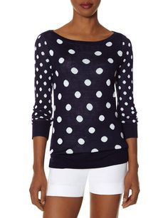 Mixed Dot Sweater - Play with shapes and colors! Add an easy dose of fun to your day with this comfortable intarsia sweater.