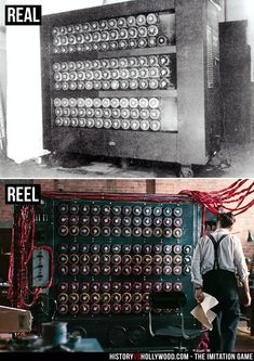 Alan Turing Bombe machine (top) and the Christopher machine in the movie (bottom). See more pics at: http://www.historyvshollywood.com/reelfaces/imitation-game/