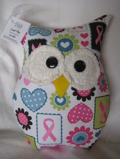 Hooters Stuffed Owl Pillow Ribbons & Hearts by sweetpitas on Etsy. $14.00 USD, via Etsy.