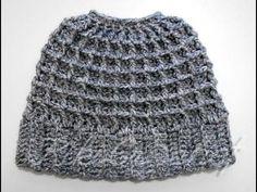 Crochet Messy Bun Beanie, using the waffle stitch!