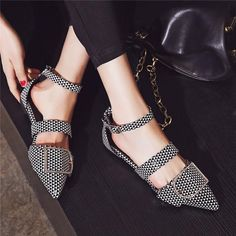 Brand Name:OdetinaUpper Material:PUFlats Type:Ballet FlatsOccasion:CasualPattern Type:PlaidClosure Type:Buckle StrapToe Shape:Pointed ToeOutsole Material:RubberModel Number:173605Season:SummerInsole Material:PULining Material:PUFit:Fits true to size, take your normal sizeFashion Element:Metal DecorationDepartment Name:AdultItem Type:Flats Pump Shoes, Shoe Boots, Shoes Sandals, Heels, Flat Sandals, Shoe Shoe, Ankle Strap Flats, Pointy Toe Flats, Ankle Straps