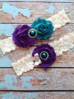 Peacock wedding garter set / PLUM TEAL by FallenStarCoutureInc