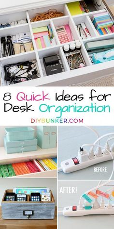 These desk organization ideas for your home office and craft space are EVERYTHING! Here are my best ways of keeping office supplies organized so I can work efficiently! organization at work Desk Organization Ideas for an Efficient Office Space Office Organization At Work, Organisation Hacks, Closet Organization, Craft Organization, Organize Office Supplies, Cute Office Supplies, Organized Office, Office Storage, Organized Craft Rooms