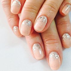 Natural wedding nails with silver glitter is always a favorite - 100 Delicate Wedding Nail Designs