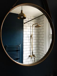 Hague blue metro tiles brass fittings bathroom - Home Decor Ideas Dark Blue Walls, Spa Style Bathroom, Round Mirror Bathroom, Bohemian Bathroom, Bathroom Design, Brass Bathroom, Metro Tiles Bathroom, Tile Bathroom, Bathroom Mirror