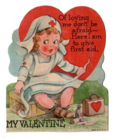 OLD VINTAGE RED CROSS NURSE NURSING VALENTINE CARD (02/11/2011)