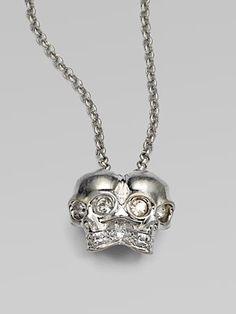 Alexander McQueen Siamese Skull Pendant Necklace