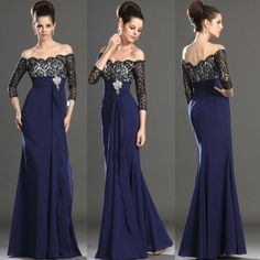 Tienda Online Sleeve Off the Shoulder Lace Bodice Long Evening Dress Formal Evening Party Dress Navy Prom Dresses, Gala Dresses, Cheap Evening Dresses, Evening Gowns, Evening Party, Party Wear Lehenga, Party Dress, Mother Of The Bride Dresses Long, Latest African Fashion Dresses