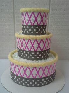 Hot Pink Grey and Yellow Themed Baby Girl by ReadyMadeDiaperCakes