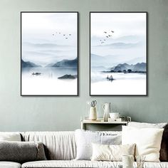 Nordic Mountain and Lake Landscape Painting No Frame Canvas Posters an – Elleseal