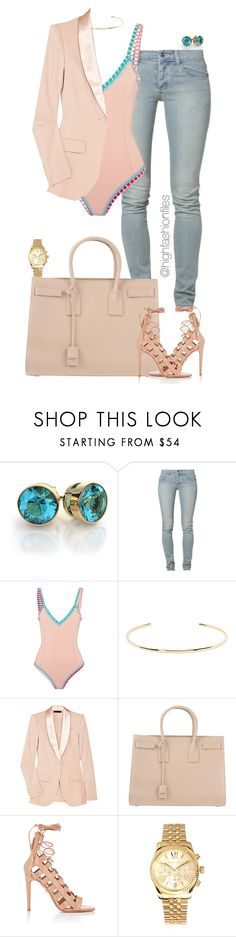 """Untitled #2723"" by highfashionfiles ❤ liked on Polyvore featuring Cheap Monday, kiini, Jennifer Fisher, The Row, Yves Saint Laurent, Aquazzura and Michael Kors"
