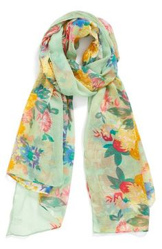 $18, Green Floral Scarf: Floral Oversized Scarf Green None by BP.. Sold by Nordstrom. Click for more info: http://lookastic.com/women/shop_items/151948/redirect