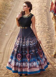7dcc792a4 Bhavika Exim Designer Trendy Stylish Indian Floor Length Partywear Print  Gown   eBay Anarkali Frock,