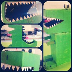 Suggest-O-Saurus-Rex made from cardboard boxes. Looks amazing in our childcare room