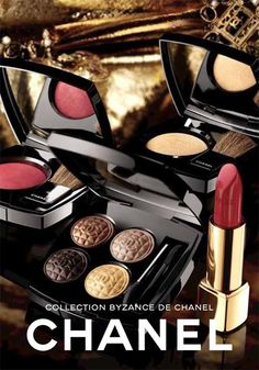Byzance de Chanel     Les 4 Ombres Quadra Eyeshadow in Topkapi  Joues Contraste Powder Blush in Rouge and Or  Rouge Allure Lipstick in Rouge Byzantine