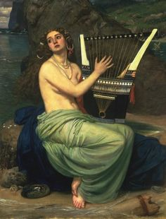 The Siren (1864). Sir Edward Poynter (British, 1836-1919). Oil on canvas.  The Sirens were three sea nymphs who lured sailors to their death with a bewitching song. Argonauts passed by unharmed with the help of Orpheus, the poet drowning out their music with his song. Odysseus also sailed by, bound tightly to the mast, his men blocking their ears with wax. The Sirens were so distressed to see a man hear their song and yet escape, that they threw themselves into the sea and drowned.