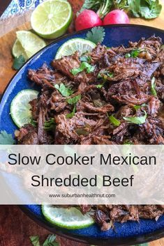 Affiliate Disclosure It's time to get ready for Cinco de Mayo! The day, to really enjoy Mexican food (as if you really needed an excuse! This year, indulge, but keep it a bit healthier… This is one of those super easy and incredibly versatile recip Slow Cooker Pressure Cooker, Crock Pot Slow Cooker, Crock Pot Cooking, Slow Cooker Recipes, Crockpot Recipes, Meat Recipes, Mexican Food Recipes, Real Food Recipes, Cooking Recipes