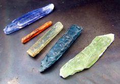 Kyanite Crystals  Blue Green Orange Teal bi color by CoyoteRainbow, $62.00