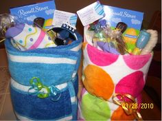Why didn't i think of that! EASTER BASKETS - use beach towels! So cute & more useful than a collection of baskets every year.
