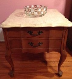 Charming Vintage Queen Anne French Provincial Marble Top Night Stand End Side Table