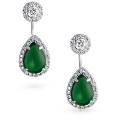Synthetic Green Onyx Teardrop Ear Jacket Earrings Rhodium Plated (44 BGN) ❤ liked on Polyvore featuring jewelry, earrings, teardrop jewelry, imitation earrings, green onyx earrings, imitation jewellery and teardrop earrings