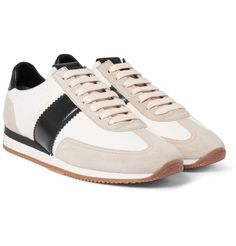 When <a href='http://www.mrporter.com/mens/Designers/Tom_Ford'>TOM FORD</a> does sneakers, they're delivered with the brand's innate sense of luxury. This style is constructed from a combination of resilient canvas, soft suede and smooth leather for a sophisticated look. The retro-style panelling and gripped rubber soles add a distinctive sporty touch. Wear them with smart trousers to seamlessly fuse athleticism and sophisticatio...