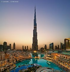 Burj Khalifa, stands at 828m with 162 habitable floors in Dubai. Taken by Daniel Cheong on Flickr.