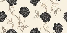 Lauren Motif Black/White (980407) - Arthouse Wallpapers - A pretty stylised floral rose trail on a textured vinyl background.  Shown drawn in grey on a fresh white background with black flowers. Available in other colours. Please ask for sample for true colour match. Colour Match, Color Combos, True Colors, Colours, Painting Wallpaper, Black Flowers, Paint Chips, Home Art, Trail