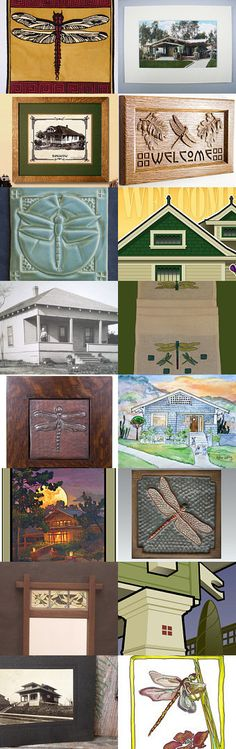 Dragonflies and Bungalows by allan elliott on Etsy--Pinned with TreasuryPin.com | Arts and Crafts | Mission Style | Craftsman | Oak | Jan Schmuckal | Fay Jones Day | Fairmount Historic District | Cindy Searles | Arts & Crafts Stitches | Prairie | Embroidery