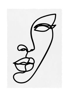 Trendy bold line art style art poster. Detail of a ladies face in a single line illustration. Perfect minimal Scandinavian style artwork for a gallery wall or a large framed print for impact. Indie Kunst, Arte Indie, Art Sketches, Art Drawings, Minimal Drawings, Simple Line Drawings, Face Line Drawing, Line Drawing Artists, Simple Face Drawing