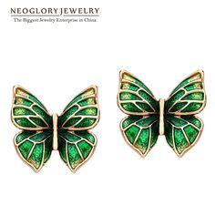 Neoglory esmalte araña grande de bohemia boho de la vendimia stud pendientes para las mujeres de joyería de moda de la mariposa 2017 nueva js6 ena1 pero-e