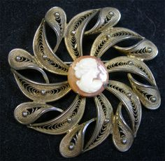 Sterling Filigree Brooch with Carved Shell Cameo Center