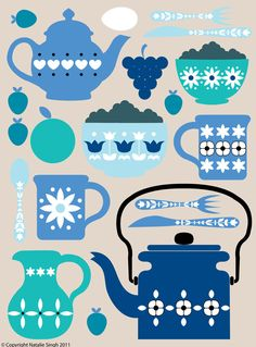 Retro kitchen design in blues