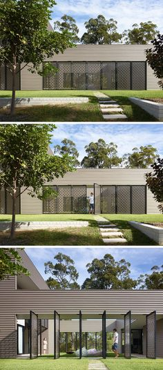This modern house has a landscaped garden with a small path leads to a courtyard that's enclosed by decorative laser cut screens, that can pivot to enable the courtyard to be hidden when needed.