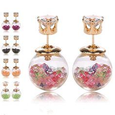 Monili di marca di modo di disegno Fiori di vetro Cristallo della vite prigioniera dell'orecchino doppia imitazione perla lato stile di Estate Margherita orecchino per le donne