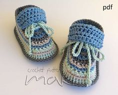 Crochet pattern baby booties Super cute baby sneakers! For boys and girls! - Permission to sell finished items! Pattern No. 109