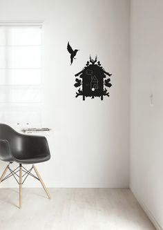 Schoolbordsticker vogelhuisje met vogel Birdhouse.