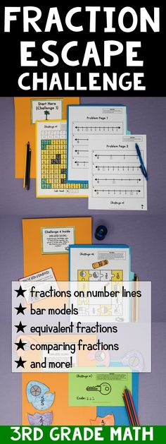 Escape from Emoji Jungle is an awesome grade escape challenge. If you love breakout edu, you will love this fraction escape! This is great for the end of your fraction unit or test prep. The included skills are: fractions on number lines bar models e Comparing Fractions, Teaching Fractions, Equivalent Fractions, Math Fractions, Teaching Math, Maths, Math Math, Teaching Tips, Teaching Reading