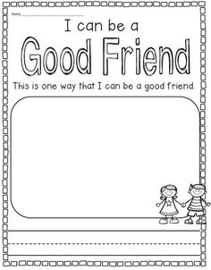 Friendship Worksheets for Kids. 20 Friendship Worksheets for Kids. Back to School Kindergarten Kindergarten Social Studies, Kindergarten Writing, Kindergarten Worksheets, Literacy, Teaching Friendship, Friendship Lessons, Friendship Crafts, Friendship For Kids, Friendship Salad
