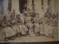 A group of dancing girls, a postcard photo, late 1800's