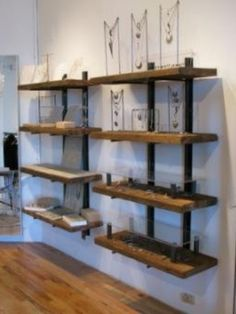 Rustic reclaimed wood shelves add warmth and texture to a wide variety of fun spaces. | #woodshelves #reclaimedshelf #reclaimedwoodshelves #reclaimedshelves #floatingshelf #floatingwallshelves