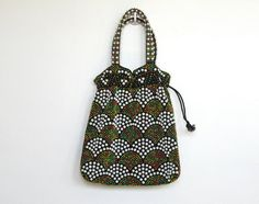SOLD / #Vintage 1960 - 70s Drawstring Purse / Handbag with Plastic Beads by VelouriaVintage, $18.00 #vintage