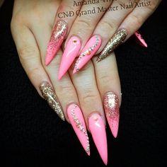 Pink stilletos with glitter.
