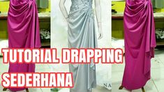 TUTORIAL SEMI DRAPPING SEDERHANA Drape Dress Pattern, Gown Pattern, Dress Sewing Patterns, Drape Gowns, Draped Dress, Kebaya Peplum, Pola Rok, Little Girl Pageant Dresses, Baby Girl Birthday Dress