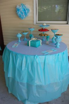 Tiffany & Co. inspired birthday party  Candy table
