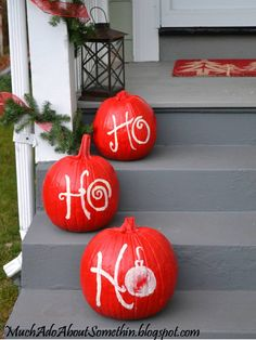 Much Ado About Somethin: Christmas Pumpkins. I'ma make these pumpkins pull double holiday duty! Change the orange to red, green and white. Cute, would match the trees that I earlier pinned from Leanne Dysons Page! Christmas Pumpkins, Christmas Porch, Outdoor Christmas, Christmas Projects, Winter Christmas, All Things Christmas, Halloween Pumpkins, Holiday Crafts, Holiday Fun