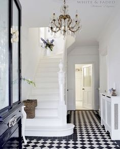 Victorian black and white tiled hallway and white painted staircase Tiled Hallway, House Styles, House Design, Victorian Hallway, Hallway Inspiration, Home Decor, House Interior, Black And White Tiles, Victorian Homes