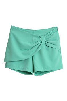 Bowknot Embellishment Green Shorts $32.99